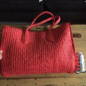 Handbags - VINTAGE RED STRAW BAG WOVEN OVERSIZED BEACH